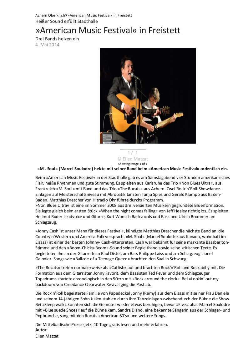 Achern   Oberkirch Heißer Sound erfüllt Stadthalle »American Music Festival« in Freistett Nachrichten der Ortenau - Offenburger Tageblatt