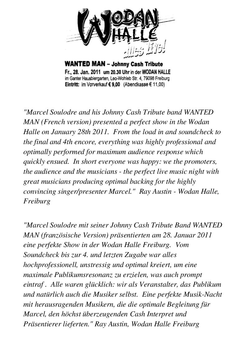 Critique de Ray Austin, Directeur de la Salle Wodan Halle à Freiburg 01. 2011