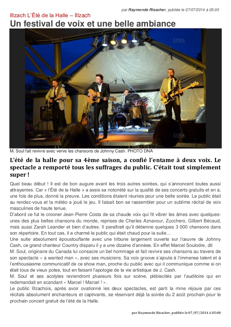 Article DNA Mulhouse du 7 juillet 2014. Wanted Man, A Tribute To Johnny Cash à L'Eté de la Halle