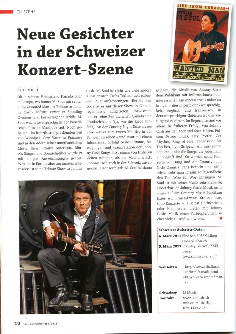 article magazine Country music Club Of Switzerland 02. 2011